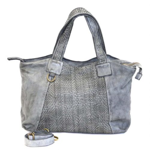 DARIA Hand Bag With Woven Detail Light Grey