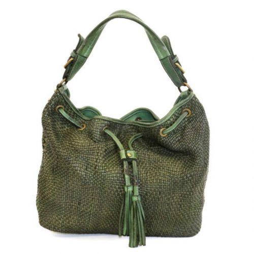 ELENA Bucket Bag With Tassels Army