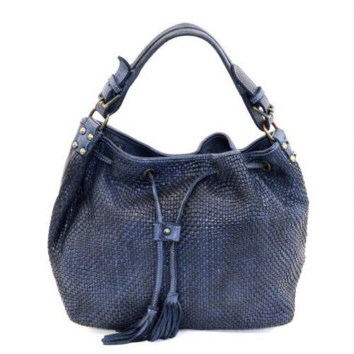 ELENA Bucket Bag With Tassels Navy
