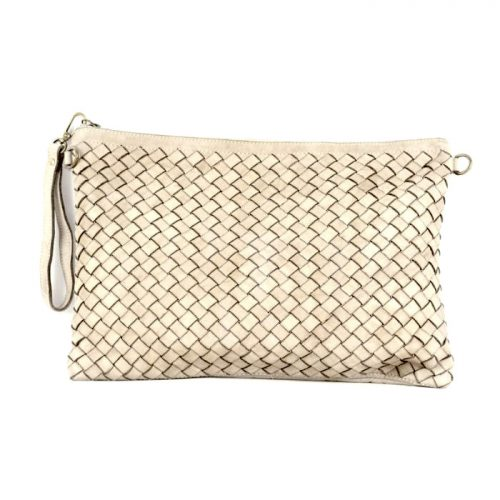 GIORGIA Woven Large Clutch Bag Beige