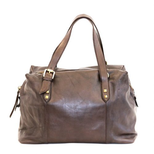 DANIELA Hand Bag With Buckle Detail Brown