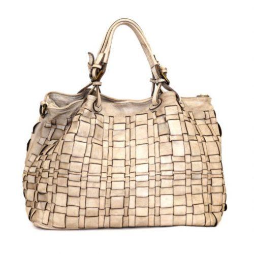 LUCIA Tote Bag Asymmetric Weave Beige