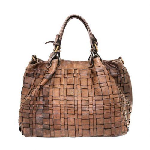 LUCIA Tote Bag Asymmetric Weave Brown
