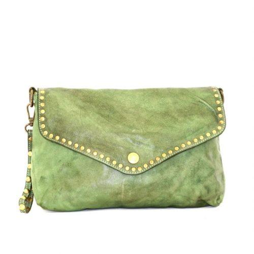 LAVINIA Studded Clutch Bag Olive Green