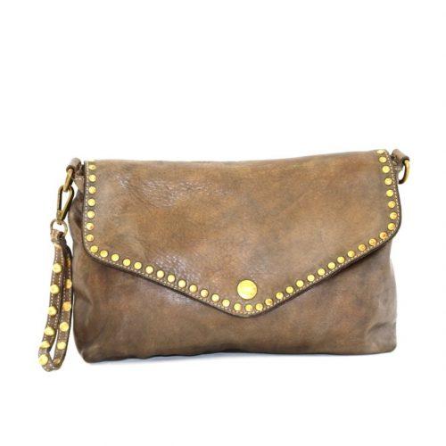 LAVINIA Studded Clutch Bag Brown