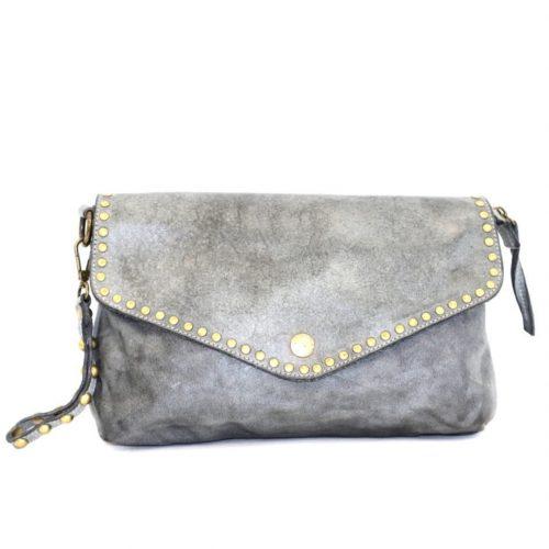 LAVINIA Studded Clutch Bag Grey