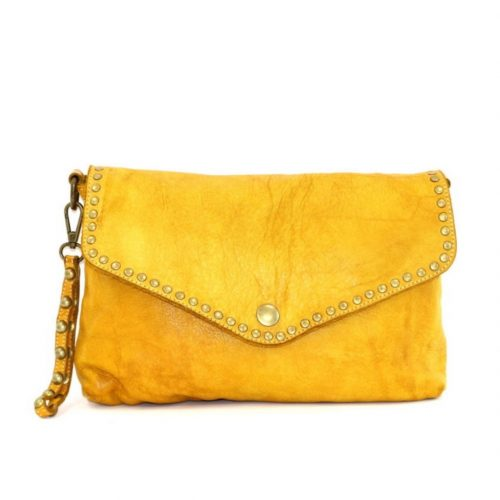 LAVINIA Studded Clutch Bag Mustard