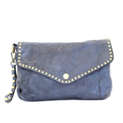 LAVINIA Studded Clutch Bag Navy