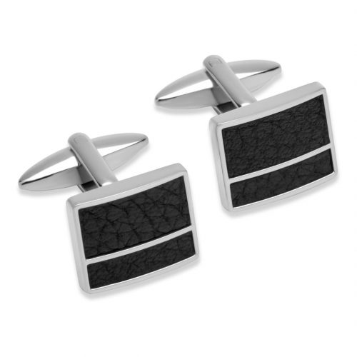 Unique & Co Men's Leather And Steel Cufflinks Black