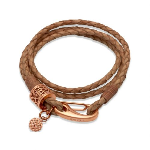 Unique & Co Women's Leather Bracelet With Crystal Ball Natural