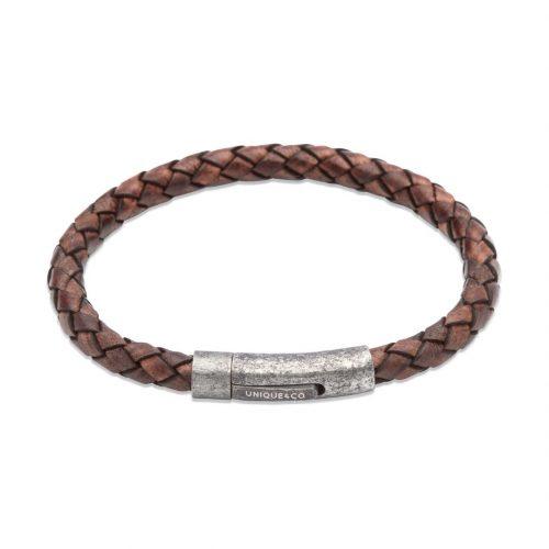 Unique & Co Men's Leather Bracelet With Gunmetal Pusher Clasp Antique Brown