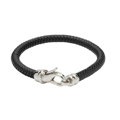Unique & Co Men's Leather Bracelet With Lobster Clasp Black
