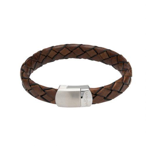 Unique & Co Men's Leather Bracelet With Magnetic Clasp Antique Brown