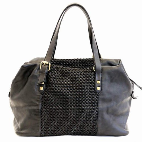 DANIELA Hand Bag With Cross Weave Black