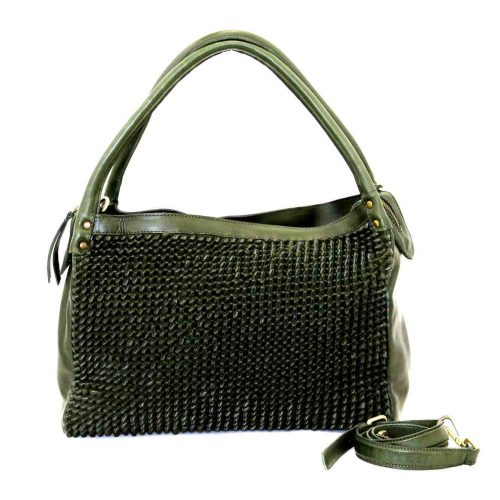 GIADA Hand Bag With Knot Weave Army