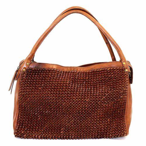 GIADA Hand Bag With Knot Weave Tan