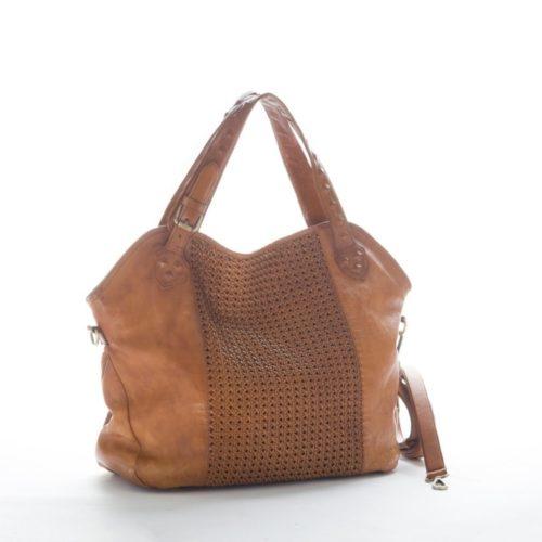 TAMARA Shoulder Bag With Cross Weave Tan