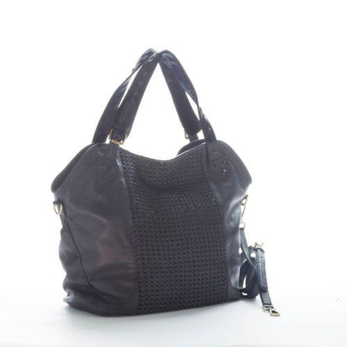 TAMARA Shoulder Bag With Cross Weave Black