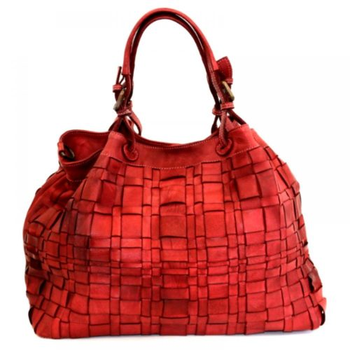 LUCIA Tote Bag Asymmetric Weave Deep Red