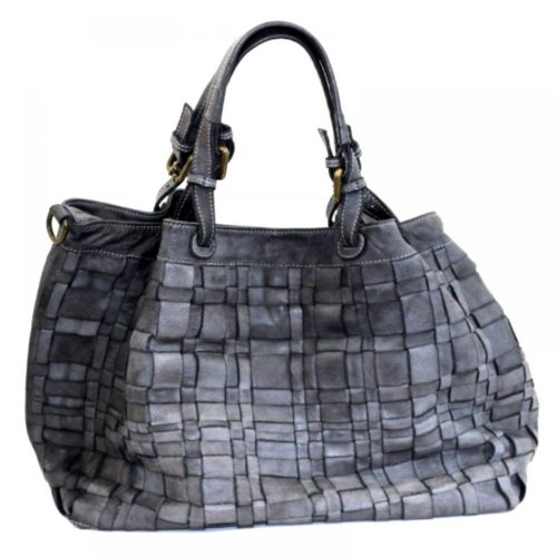 LUCIA Tote Bag Asymmetric Weave Dark Grey