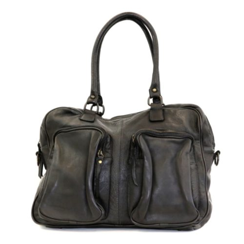 LAURA Hand Bag With Two Front Pockets Black