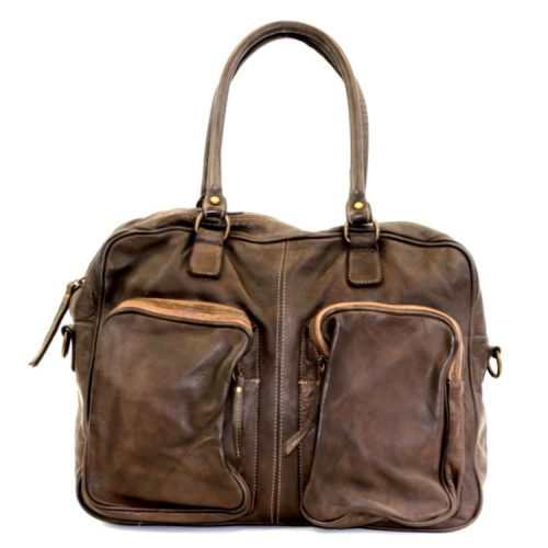 LAURA Hand Bag With Two Front Pockets Dark Brown