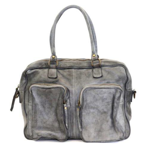 LAURA Hand Bag With Two Front Pockets Dark Grey