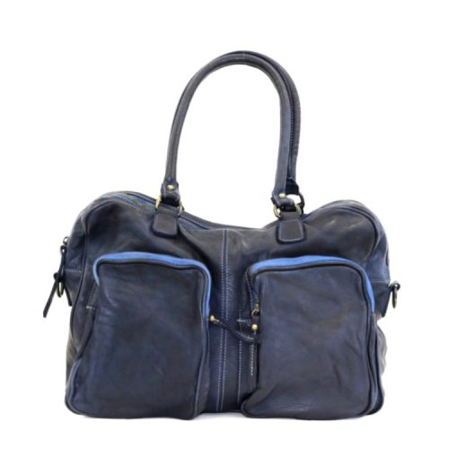 LAURA Hand Bag With Two Front Pockets Navy