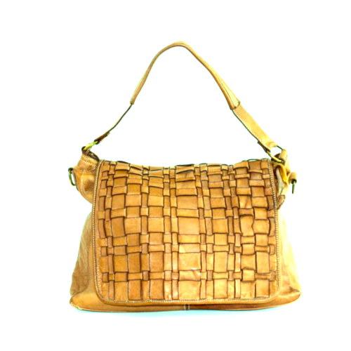 VIRGINIA Flap Bag With Asymmetric Weave Mustard
