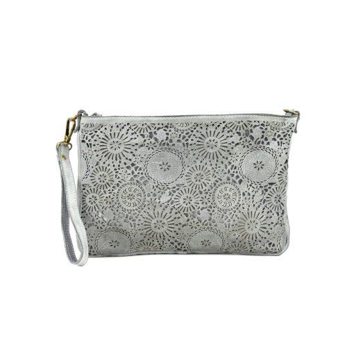 CLAUDIA Laser Clutch Wristlet Bag Light Grey