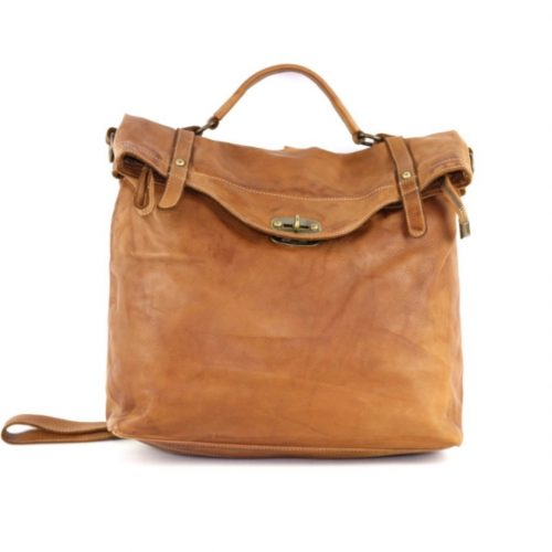 SARA Rucksack With Metal Lock Tan