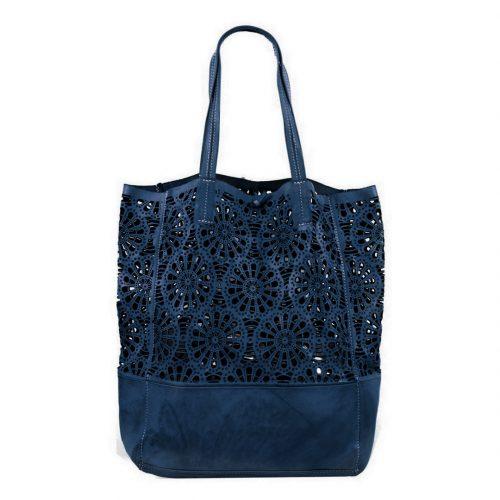 LEILA Shopper Bag With Laser Cut Flower Pattern Navy