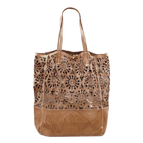 LEILA Shopper Bag With Laser Cut Flower Pattern Taupe