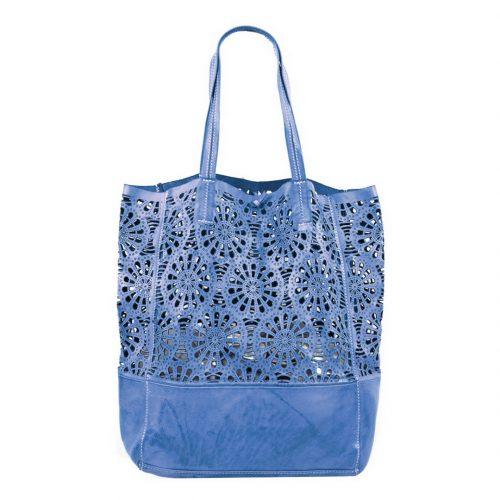 LEILA Shopper Bag With Laser Cut Flower Pattern Denim