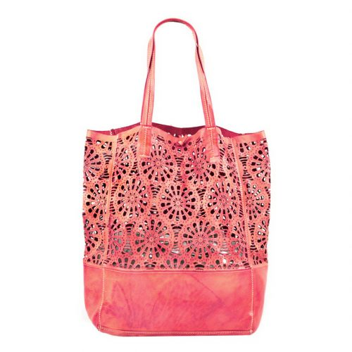 LEILA Shopper Bag With Laser Cut Flower Pattern Coral