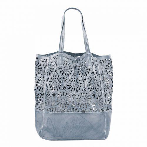 LEILA Shopper Bag With Laser Cut Flower Pattern Grey