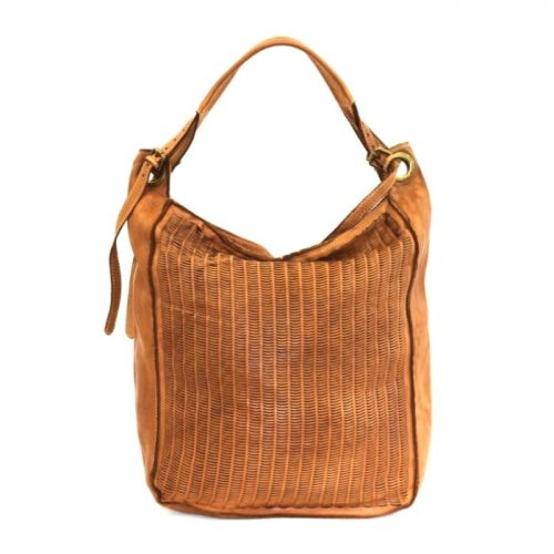 GIULIA Hobo Bag With Moon Laser Detail Tan