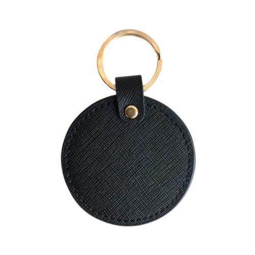 Round Leather Keyring Black
