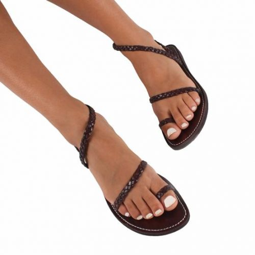 Mykonos Woven Leather Sandals – Chocolate Size 4 (last Pair)