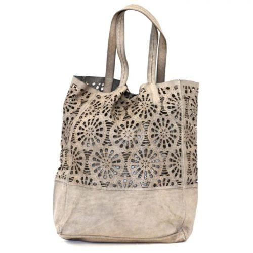 LEILA Shopper Bag With Laser Cut Flower Pattern Beige
