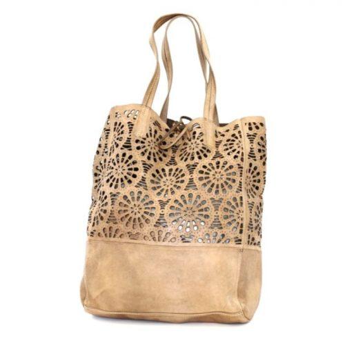 LEILA Shopper Bag With Laser Cut Flower Pattern Light Taupe