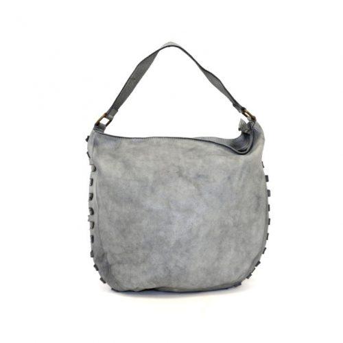 ANGELA Hobo Bag With Studded Border Grey