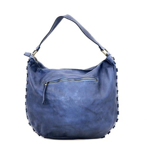 ANGELA Hobo Bag With Studded Border Navy