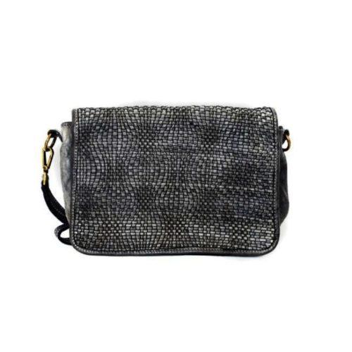SILVINA Wave Weave Cross-body Bag Dark Grey