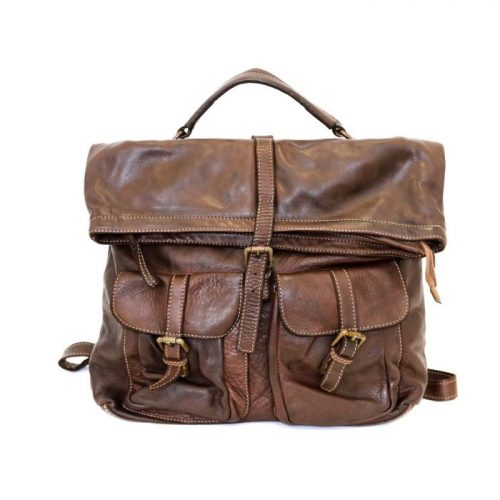 RACHELE Backpack With Two Pockets Dark Brown