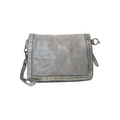 SILVINA Small Cross-body Bag With Studs Light Grey