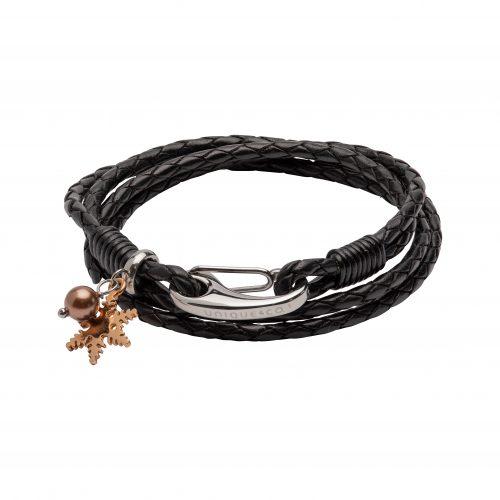 Unique & Co Women's Leather Bracelet With Snowflake Charm & Pearl Black