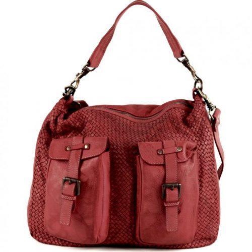 BARBARA Woven Hobo Bag With Two Pockets Burgundy