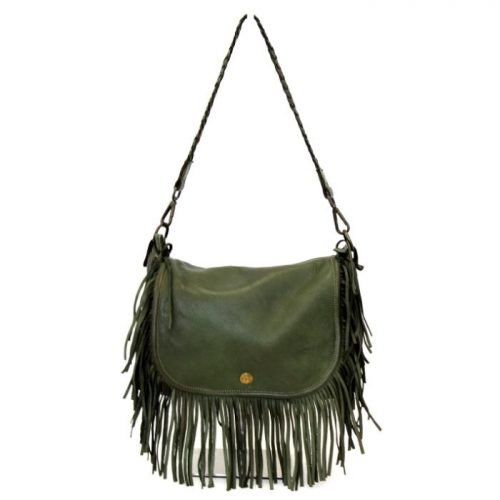 CAMILLA Shoulder Bag With Fringes Army Green