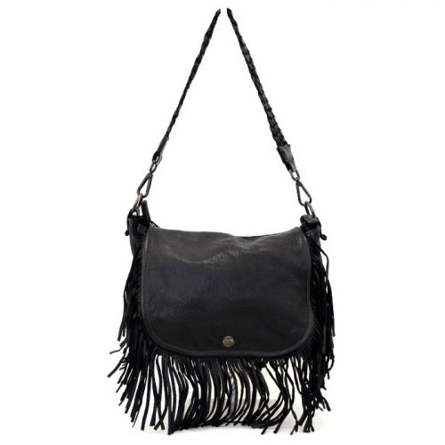 CAMILLA Shoulder Bag With Fringes Black